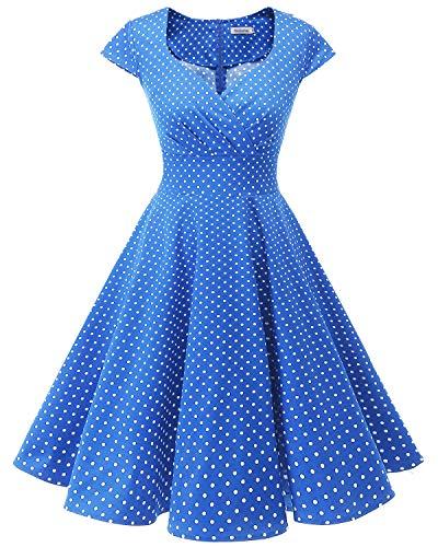 Bbonlinedress Vestido Corto Mujer Retro Años 50 Vintage Escote En Pico Dark Blue White Dot L