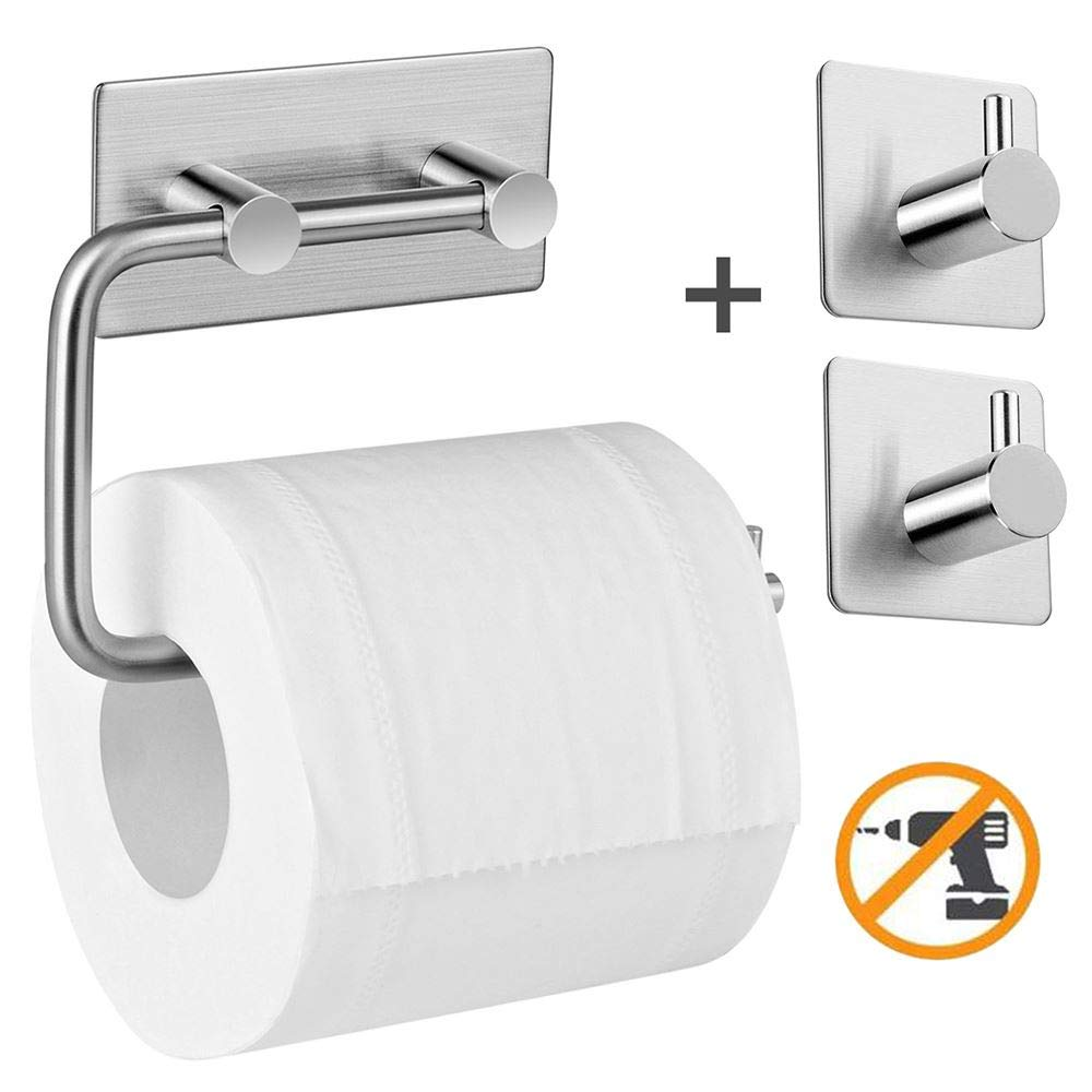 Toilet Paper Holder AIKZIK® Stainless Steel Wall Mount Self Adhesive for Bathr