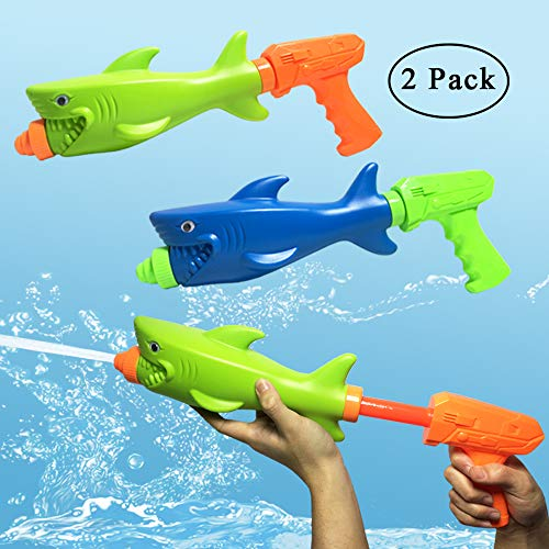 JOLLY SWEETS Water Gun Water Blaster Toys Set, Super Pump Shark Water Fighting Toys Outdoor Summer Swimming Beach Pool Games Toy 2 Pack,