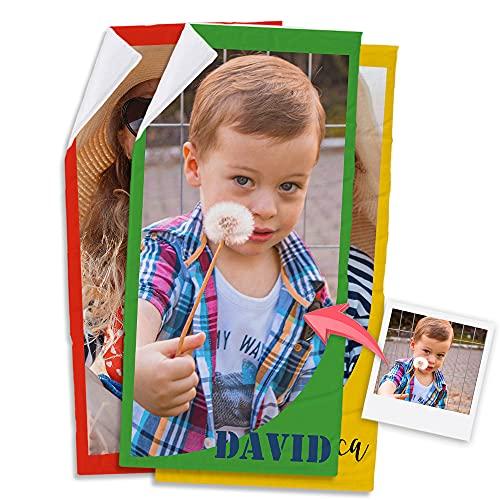 Getsingular Toalla Personalizada con Tus Fotos y Texto | Toalla de Microfibra y Algodón Toalla Deportiva y para Playa | Nombre y Color 30x50 cm