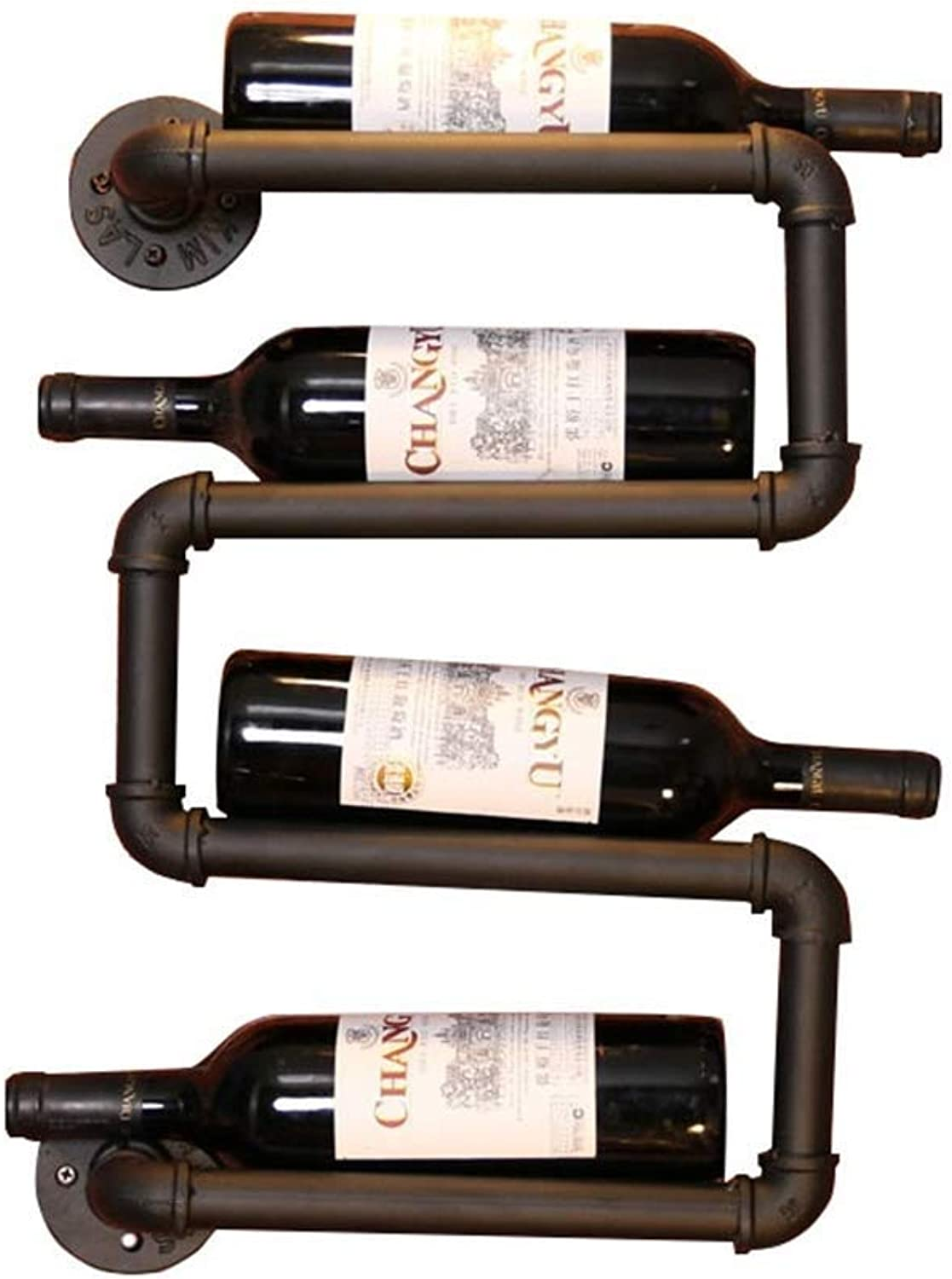 SYF Rack Black Industrial Creative Water Wine Rack   Wall Hanging Display Stand Bar Rack   Wall Wine Rack Retro Decoration Can Accommodate 4 Bottles A+