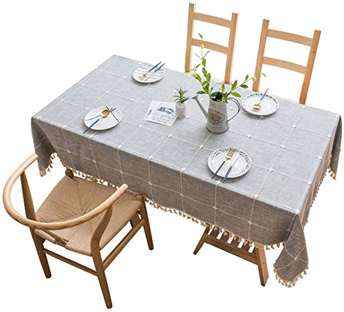 YISK Store Cotton Linen Checked Lattice Tablecloth Embroidery Tassel Table Cover 140x180cm (55 x 70 Inch) for Home Kitchen Dinning Tabletop Rectangle, Grey, Seats 4-6 People