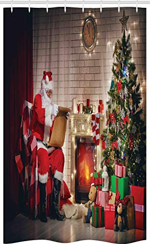ABAKUHAUS de kerstman Douchegordijn, Kerstman die letter:, voor Douchecabine Stoffen Badkamer Decoratie Set met Ophangringen, 120 x 180 cm, Veelkleurig