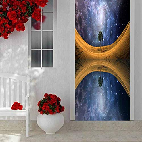 3D Door Sticker Murals Self-Adhesive Door Decals Lighted Candle Amongst Many Flaming Tea, Decor Door Decals Self-Adhesive Door Mural W15 x L78.7 Inch