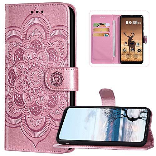 Funda tipo cartera compatible con Nokia 5.3, piel sintética, cierre magnético, diseño de flores de mandala, con tarjetero, color oro rosa