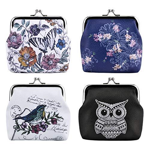 Oyachic 4 Pcs Wallets Monedero con Clic Clac Corchete Flores 3D Coin Purse Mariposa Portamonedas Kisslock Owl Billetera con Búhos para Tarjeta…