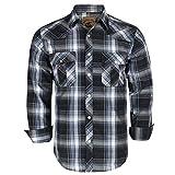Coevals Club Men's Western Cowboy Long Sleeve Pearl Snap Casual Plaid Work Shirts (Black & Gray #9, XL)