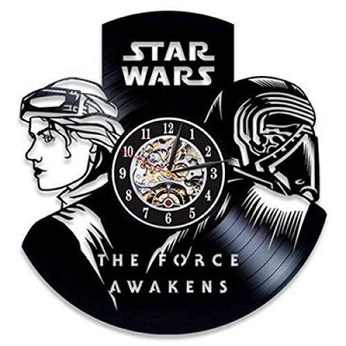 SKYTY Reloj De Pared De Vinilo-Reloj De Pared De Star Wars-Reloj De Pared con Registro De Vinilo Retro Reloj De Decoración De Regalo-con Luz Led