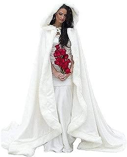 Women's Wedding Bridal Cloak Winter Christmas Capes Faux Fur Edge