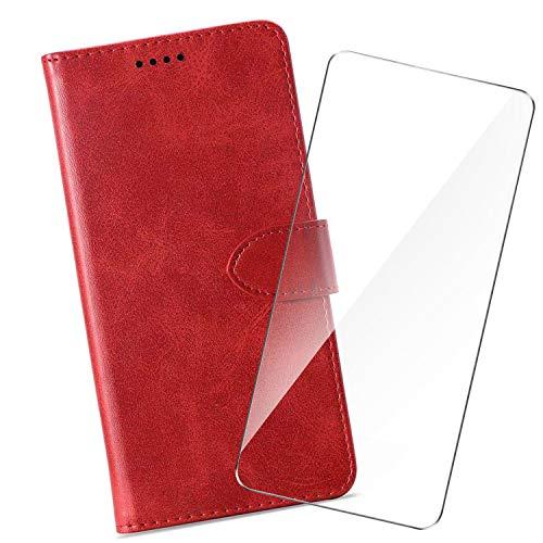 HYMY Hülle für Alcatel 1S 2019 + Schutzfolie - Einfach Stil PU Leder Lederhülle Flip mit Brieftasche Geldbörse Card Slot Handyhülle Cover Alcatel 1S 2019-Red