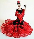 Folk Artesanía Sammelpuppe 19 cm. Andalusisches Flamenco-Regionalkleid mit Kamm España. (Einfaches...