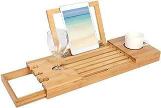 竹製バスタブトレイバステーブルバスルームオーガナイザー電話帳石鹸ワイン用拡張サイド付きキャディトレイ
