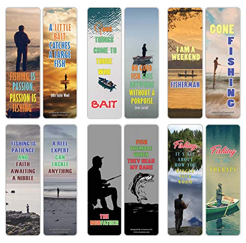 Creanoso Sports Hobby Bookmarks – Fishing Sayings (12-Pack) – Premium Gift Collection Set – Awesome Bookmarks for Fishermen, Hobbyist, Adult Men Women – Six Bulk Assorted Page Clip Giveaway Tokens