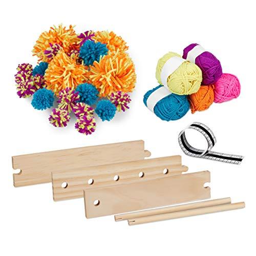 Relaxdays Pompom Maker, Bastelset, Pompon Gerät aus Holz, mit Wolle, Bommel selber machen, Pompons ø 2,5 bis 13 cm, bunt
