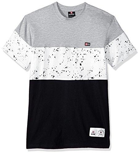 Southpole Men's Colorblock Short Sleeve Fashion Tee, Heather Grey/Splatter, XX-Large