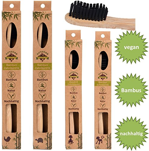 4er Family-Pack Bambus Zahnbürste mit reinem Bambus-Holz ✮ vegan ✮ biologisch abbaubar ✮ 100% frei von BPA ✮ Borsten mit Bambus-Holzkohle für beste Sauberkeit