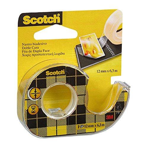 Scotch 3M Nastro Biadesivo con Dispenser in Chiocciola, 12 mm x 6.3 m