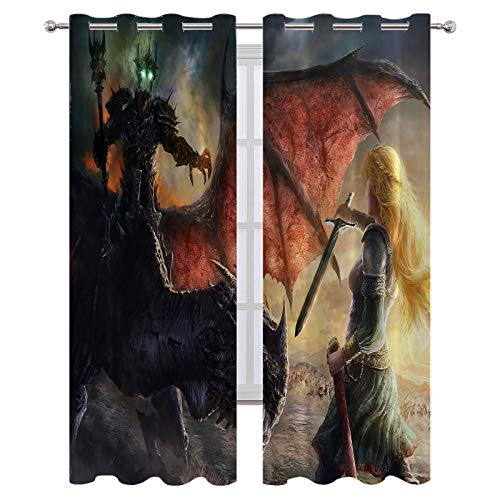 SSKJTC Room Blackout Window Curtains with Grommets The Lord of The Rings Éowyn Battle Warrior Girl Holiday Decor W55xL72 Inch