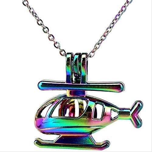 BEISUOSIBYW Co.,Ltd Halskette Geschenke Mode Regenbogen Farbe Spielzeug Hubschrauber Perlkäfig Anhänger Halskette Aroma Ätherisches Öl Diffusor Lustiges Geschenk