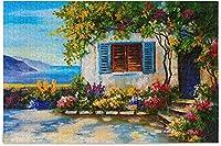 油絵美しい家ジグソーパズルシーマウンテン500ピースパズル子供のための教育的な知的減圧楽しいゲーム大人の家の壁の装飾