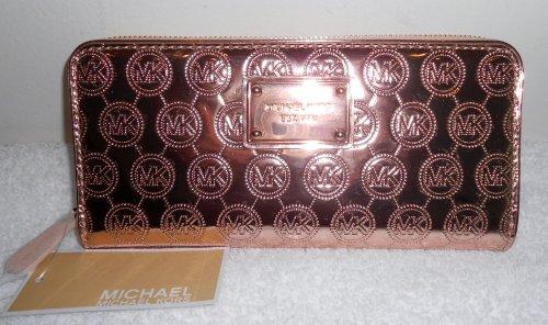 Michael Kors Handbag, Jet Set Monogram Mirror Metallic Rose Gold Zip Around Wallet