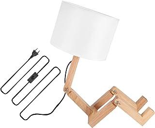 Creatieve robot-bureaulamp, houten lichtgewicht robot-bureaulamp Stoffen kaplamp Tafellamp van hoge kwaliteit Gebruiksvrie...