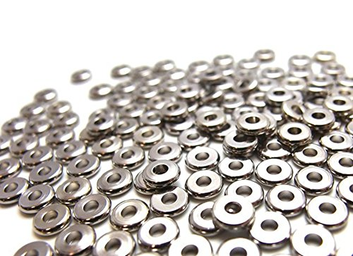 jennysun2010 4mm Solid Metal Flat Disc Round Rondelle Slice Bracelet Necklace Connector Spacer Charm Beads Silver 100 Pcs per Bag for Earrings Jewelry Making Crafts Design