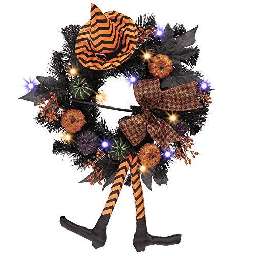 VALERY MADELYN Adornos Decoraciones de Halloween, 45cm LED Corona Guirnalda de Puerta con Uno y Calabaza Ventana Fiesta Pared Interior al Aire Libre, Regalo Juguete de Halloween de Miedo