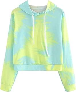 Hoodie Tie Dye Tops Women Long Sleeve Hooded Sweatshirt Pullover Blouse