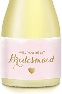 Bride Proposal Wedding, Will You Be My Bridesmaid, Maid Matron of Honor? Pink & Gold Mini Champagne, Wine Bottle Labels, Set of 10, Gift Bags Favors, 3.5