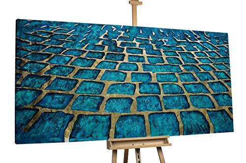 'Wege voll Magie' 200x100cm | Deko Abstrakt Steine Muster Blau Türkis | Modernes Kunst Ölbild