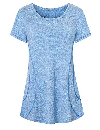 Viracy Workout Shirts for Women, Girls Yoga Outfit Fitness Clothing Gym Top Basic Simple Short Sleeve Crew Neck Shirt Comfy Breathable Lightweight Training Tops Curvy Clothes Jersey Blue L