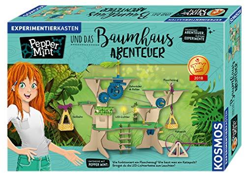 KOSMOS 626020 Pepper Mint und das Baumhaus-Abenteuer, Erforsche mit Pepper spielerisch die Grundlagen der Physik, mit Flaschenzug, Seilbahn und Katapult, Experimentierkasten für Kinder ab 8 - 11 Jahre