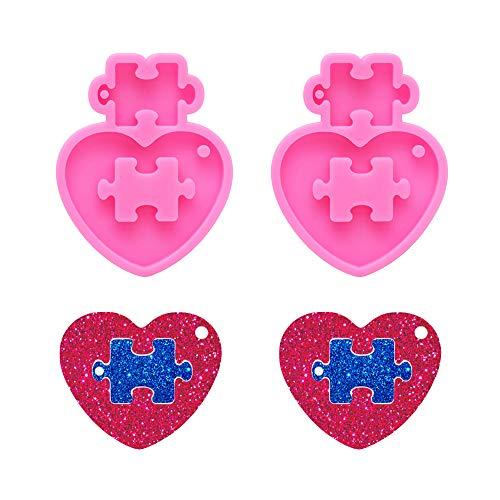 Nifocc Rompecabezas de corazón llavero de silicona Puzzle Charms moldes de resina epoxi moldes de fundición con agujero para hacer manualidades, 2 piezas