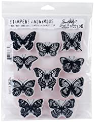 "Deeply etched red rubber cling mount rubber stamps that adhere to any clear acrylic block. Stamps come on a 3-hole punched sheet for easy storage. Butterfly (upper left) measures approximately 2 3/16"" x 1 5/8""."