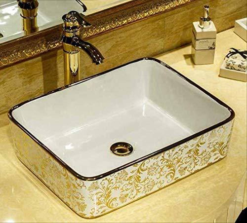 CBCJU Mosaik Gold Rechteckiges Waschbecken Luxuriöses künstlerisches Waschbecken Waschbecken aus Badkeramik Nur mit Anmerkungen versehenes Waschbecken