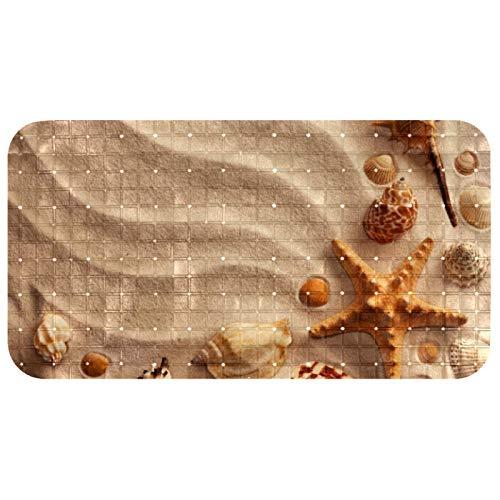 AITAI Rutschfeste Badewannenmatte Badezimmer Badematte mit starken Saugnäpfen und Abflusslöchern Strand Sand Seestern Muschel Conch