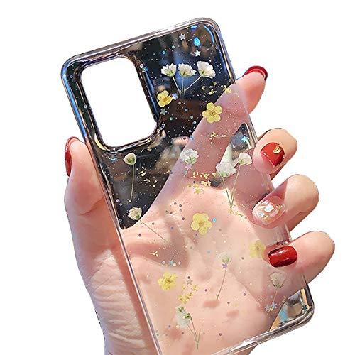 FundX Hülle für Samsung Galaxy A71-Echte Getrocknete Blumen Silikon Handyhülle Mädchen Crystal Klare Transparent Hülle -Gelb