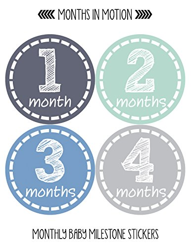 Months in Motion Baby Monthly Stickers - Baby Milestone Stickers - Newborn Boy Stickers - Month Stickers for Baby Boy…  