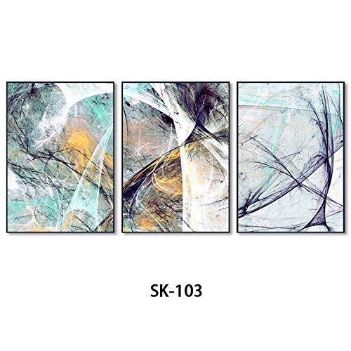 WSNDGWS Triple Abstract Murals eenvoudige schilderijen Nieuwe Chinese decoratieve schilderijen Geen fotolijst 35cmx50cmx3 C2