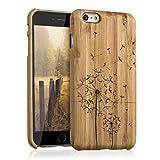 kwmobile Funda Compatible con Apple iPhone 6 Plus / 6S Plus - Carcasa de bambú para móvil - Case Duro Diente león