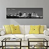"""WallsThatSpeak Panoramic New Orleans Cityscape Picture, Black and White Stretched Canvas Art Prints, Wall Decoration for Bedroom or Office, Framed and Ready to Hang, 14"""" x 48"""""""