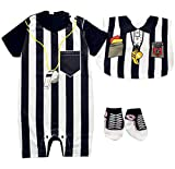 FANCYBABY Baby Toddler Referee Romper Bib Socks Shoe Shirt Outfit Set (9 to 12 Months, Referee Set #1)