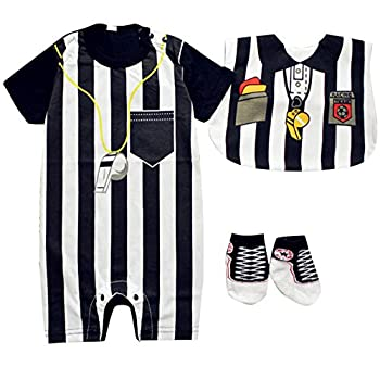 FANCYBABY Baby Toddler Referee Romper Bib Socks Shoe Shirt Outfit Set  6 to 9 Months Referee Set #1