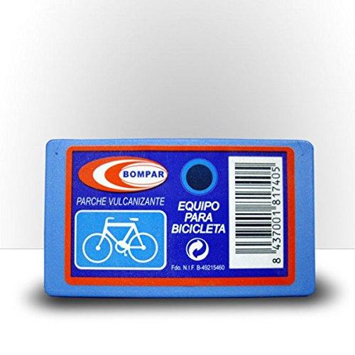 Parches Bicicleta Carretera – Parche Vulcanizante Bici reparar ruedas - KIT completo reparación neumáticos, Contiene: 6 parches para rueda, 1 tubo disolución 8ml y una lija – eficaz y fácil de usar
