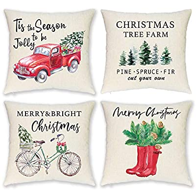 HEOFEAN Christmas Pillow Covers 18x18 Inch – Set of 4 Farmhouse Christmas Pillow Covers for Christmas Decor- Christmas Decorative Throw Pillow Covers