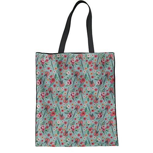 HUGS IDEA Leinen-Tragetasche für Teenager, Mädchen, E-Gitarre, Blumen-Design, Schultertasche für Reisen, iPad, Handtasche