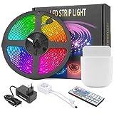 Mafiti Tira LED Multicolor , Luces LED RGB 5M. SMD 5050 con Control Remoto de 44 Botones, 150 LEDs de 20 Colores disponibles y 8 niveles de brillo, 6 opciones DIY para Habitaciones, Dormitorios.