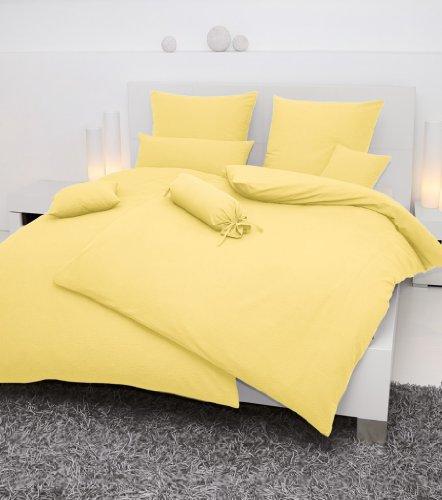 Janine Mako Soft Seersucker Bettwäsche Uni Piano 240 x 220 cm + 2 Kissenhüllen 80 x 80 cm gelb