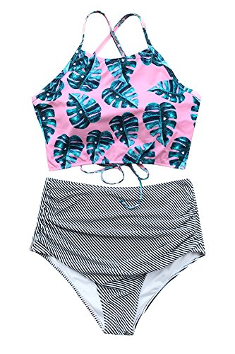 Cupshe Fashion Women's Floral Top Stripe Bottom Padding Bikini Set, Pink, Large